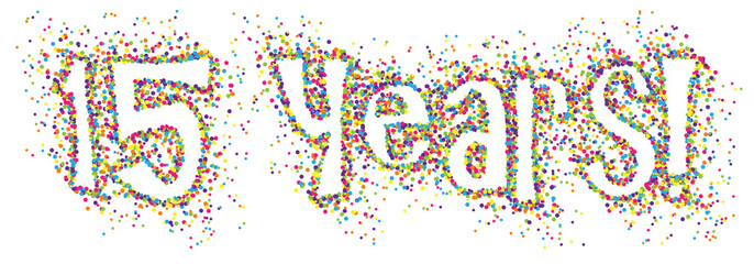 15 YEARS! colourful dots banner