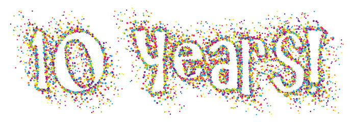 10 YEARS! colourful dots banner