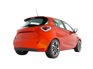 Modern electric car hatchback for the journeys for young family red orange perspective from the bottom 3d render on white background no shadow