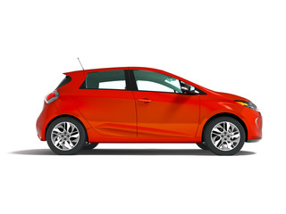 Modern electric car hatchback for travels for a young family red side 3d render on a white background with a shadow