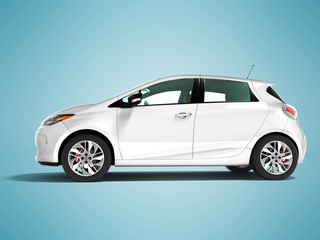 Modern electric car hatchback for travels for young family white on the left 3d render on blue background with shadow