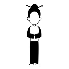 Beautiful geisha woman cartoon vector illustration graphic design