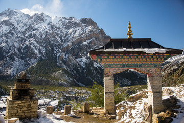 Main entrance to the Buddhist temple on Annapurna circuit, Nepal