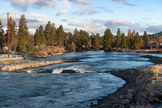 Early morning in Bend, Oregon along the Deschutes River at the whitewater park near the Old Mill District