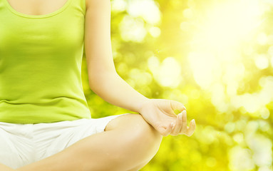 Yoga Outdoor Meditation, Woman Body Meditating, Human Hand Closeup, Healthy Exercise on Green Nature Background