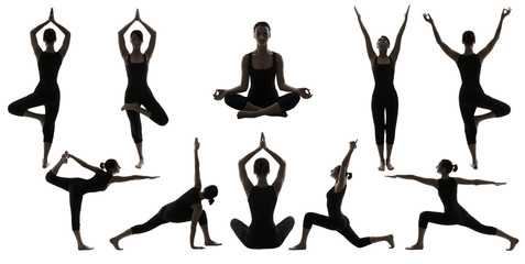 Yoga Poses Silhouettes, Woman Body Balance Asana Position, People Workout and Exercise