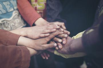 group of children hands ,teamwork concept.