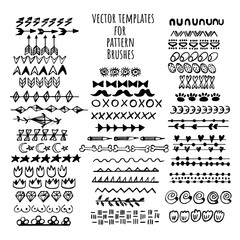 Vector brushes templates set. Make a brush with this template. Hand drawn vector elements for frames and decoration.