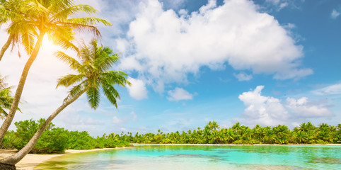 Tranquil tropical Island with palm trees. Idyllic summer destination. Tourism, travel and vacation concept background.