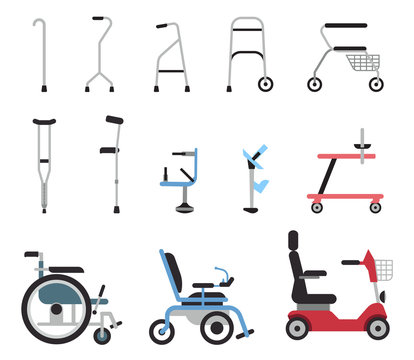 Set of icons that represent orthopedic equipment, wheelchair,crutches and mobility aids. Various orthopedic accessories and wheel chair which assist handicapped, elderly and injured people to move.
