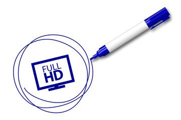 blauer Filzstift kreist ein - HD Auflösung