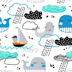 Childish seamless pattern with whale, boat, clouds and waves. Scandinavian style. Summer marina background. Perfect for fabric, textile. Vector background.