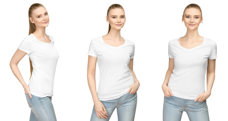 Set promo pose girl in blank white tshirt mockup design for print and concept template young woman in T-shirt front and half turn side view isolated white background with clipping path