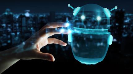 Businesswoman using digital chatbot robot application 3D rendering
