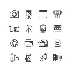 Camera on tripod, photo lens and photography equipment line vector icons isolated on white background
