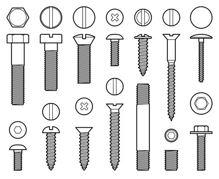 Industrial screws bolts, nuts and nails line vector icons