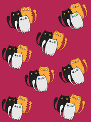 cute cats pattern  pink background