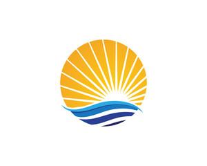 Sun Water wave icon vector illustration