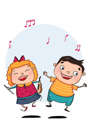 cute boy and girl singing illustration drawing and blue  background