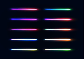 Neon lights tubes set. Colorful glowing lines collection isolated on dark blue background. Luminous gradient lamps elements pack for night party or game design. Color bright vector illustration.
