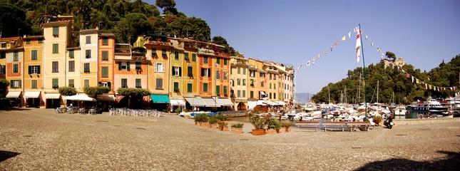Panorama of Portofino harbor - Italian Riviera, Italy