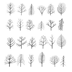 vector set of doodle trees