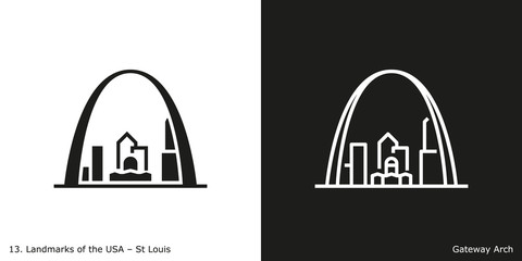 St Louis - Gateway Arch. Famous American landmark icon in line and glyph style. Fotobehang