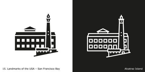 San Francisco Bay - Alcatraz Island. Famous American landmark icon in line and glyph style.