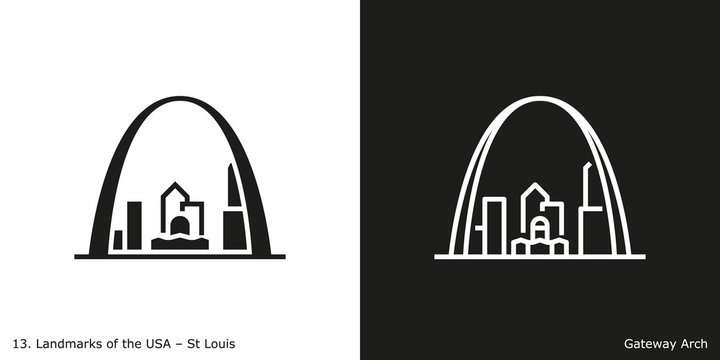 St Louis - Gateway Arch. Famous American landmark icon in line and glyph style.