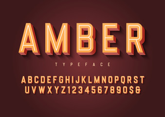 Amber trendy inline vintage display font design, alphabet, typeface, letters and numbers, typography.