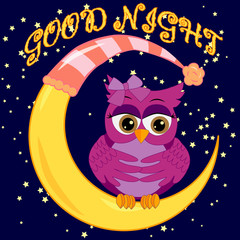 A sweet cartoon pink owl in a sleeping cap relaxes sitting on a sleeping sickle of the moon among a dark night sky and stars