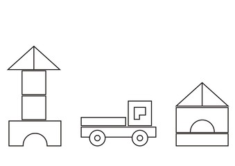 building kit, basic shapes, coloring book for children, vector icon