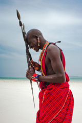 Portrait of a Maasai warrior, Diani Beach, Ukunda, Kenya
