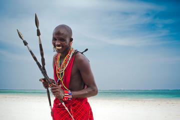 portrait of a Maasai warrior in Africa. Tribe, Diani beach, culture Wall mural