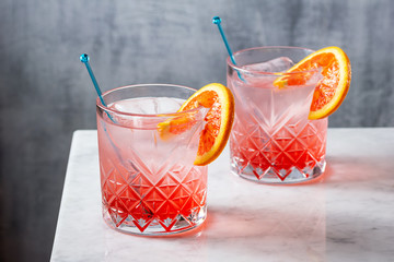 Two Blood Orange Gin and Tonic Cocktails in Glasses on Marble Bar Top