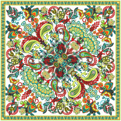 Vector ornament paisley bandana print, silk neck scarf or kerchief square pattern design style for print on fabric. Bandana paisley style