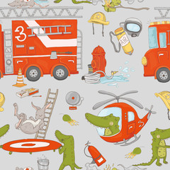 Firefighter Crocodiles with vehicles