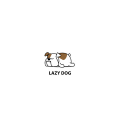 Lazy dog, cute bulldog sleeping icon, vector illustration