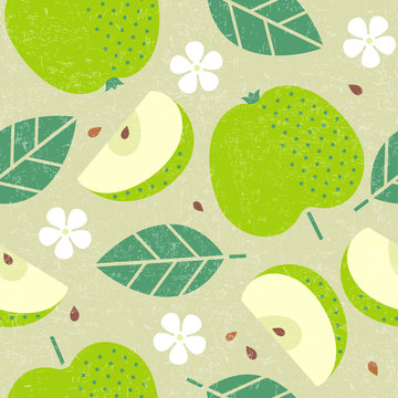 Seamless pattern. Apple juicy fruits leaves and flowers on shabby background.