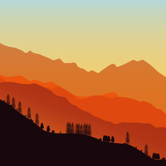 Vector illustration, background mountains. Beautiful background, trees on a background of mountains.