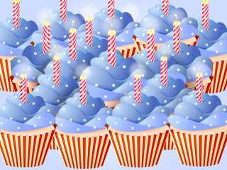 A lot of cupcakes in colors of a flag on the Independence Day of the USA. Vector illustration