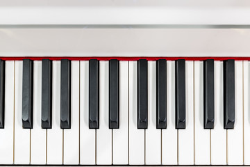 Teclado de piano blanco. Teclas en detalle.