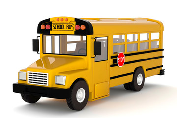 3d rendering yellow school bus on white background isolated