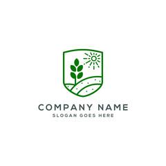 organic farm logo template vector illustration