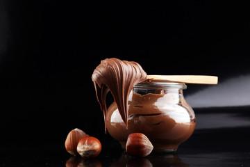 Homemade hazelnut spread in bowl. Hazelnut Nougat cream