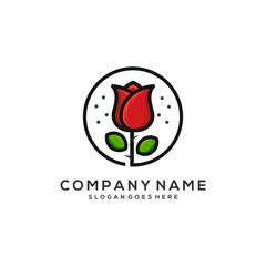 Rose flower logo template vector illustration