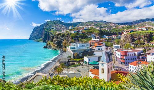 Wall mural Cityscape panorama of Camara de Lobos, Madeira island, Portugal