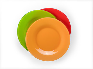 Colored plates stack top view isolated with clipping path