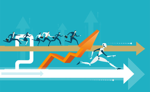 Group of business people running on the arrow towards a success but robot taking a lead. Humans vs robots concept illustration
