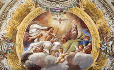 Photo sur Toile Con. ancienne PARMA, ITALY - APRIL 16, 2018: The ceiling freso of The Holy Trinity in church Chiesa di Santa Croce by Giovanni Maria Conti della Camera (1614 - 1670).